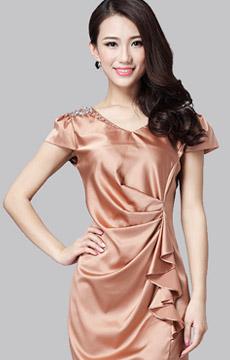 真丝玫瑰香槟金连衣裙加工