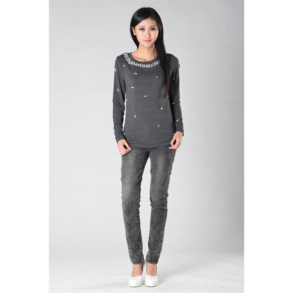 SY011针织长袖订珠上衣服装加工
