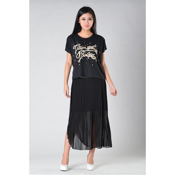 SY014针织车花订珠短袖可脱半裙服装加工