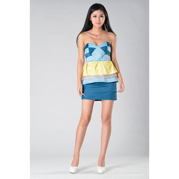 SY016四色露肩连衣裙服装加工