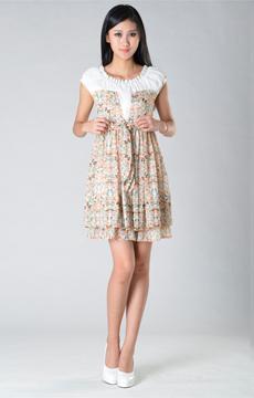 SY004雪纺白色印花连裙服装加工