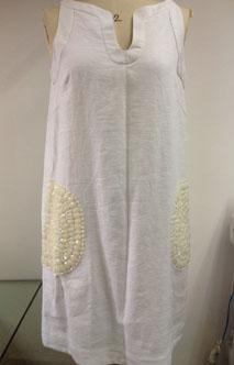 T003-2麻布订珠连衣裙服装加工