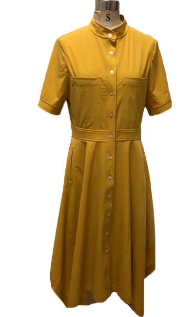 秋季新款黄色连衣裙